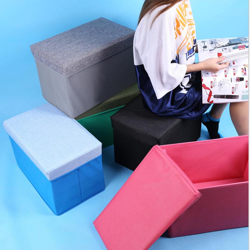 Multifunctional Storage Box Folding Stool Imitation Linen And Density Board Toy Organizer Sundry Storage 5 Colors 49*31*31CM(China (Mainland))