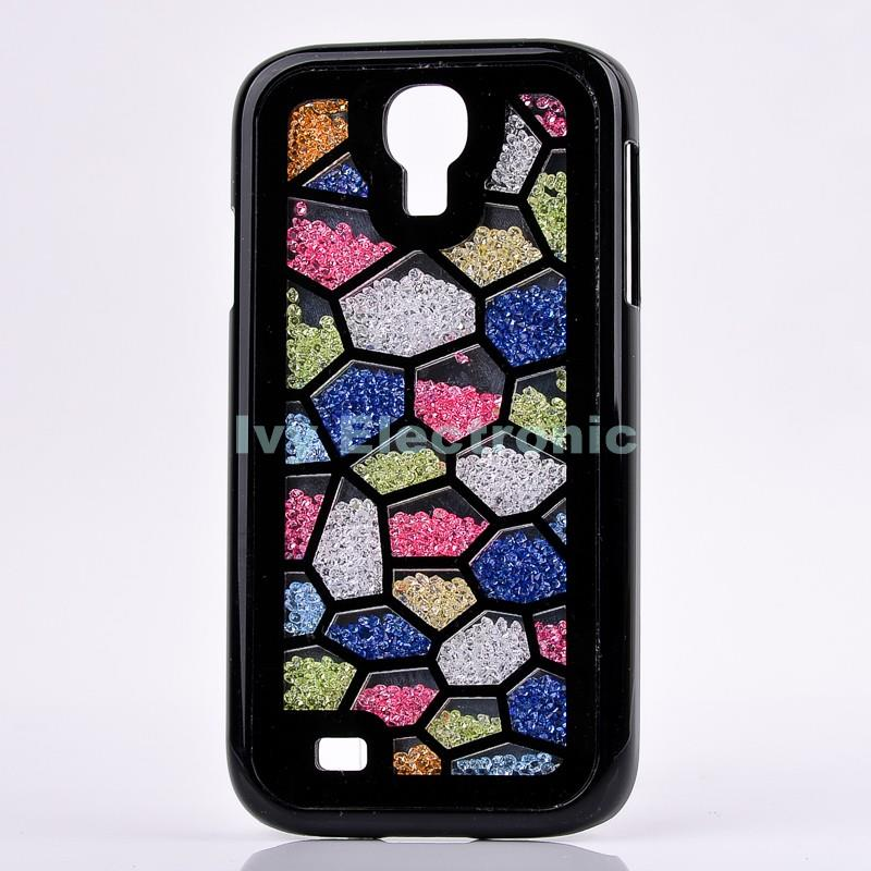 Brand New Colorful Water Cube Free Flowing Swarovski Crystal Rhinestones Hard Back Cover Case for Samsung Galaxy S4 I9500(China (Mainland))