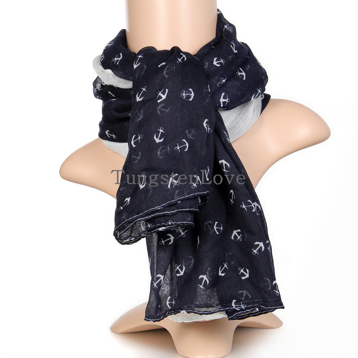 Fresh Sweet Marine Style Anchor Print Cotton Voile Scarf Shawl Winter Long Deep Blue Women Ladies Gift 180*100 cm(China (Mainland))