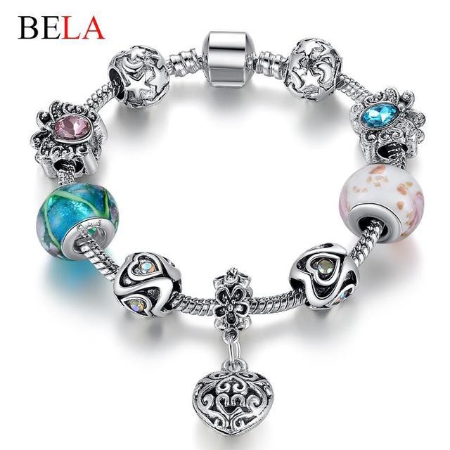 Продвижение женщин браслет из муранского стекла бусины серебряный браслет Fit оригинальный ...