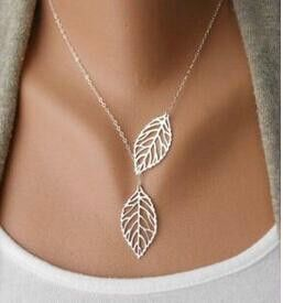 Colar Sale 2015 New European And American Fashion Jewelry Metal Leaves Double Leaf Joker Short Chain