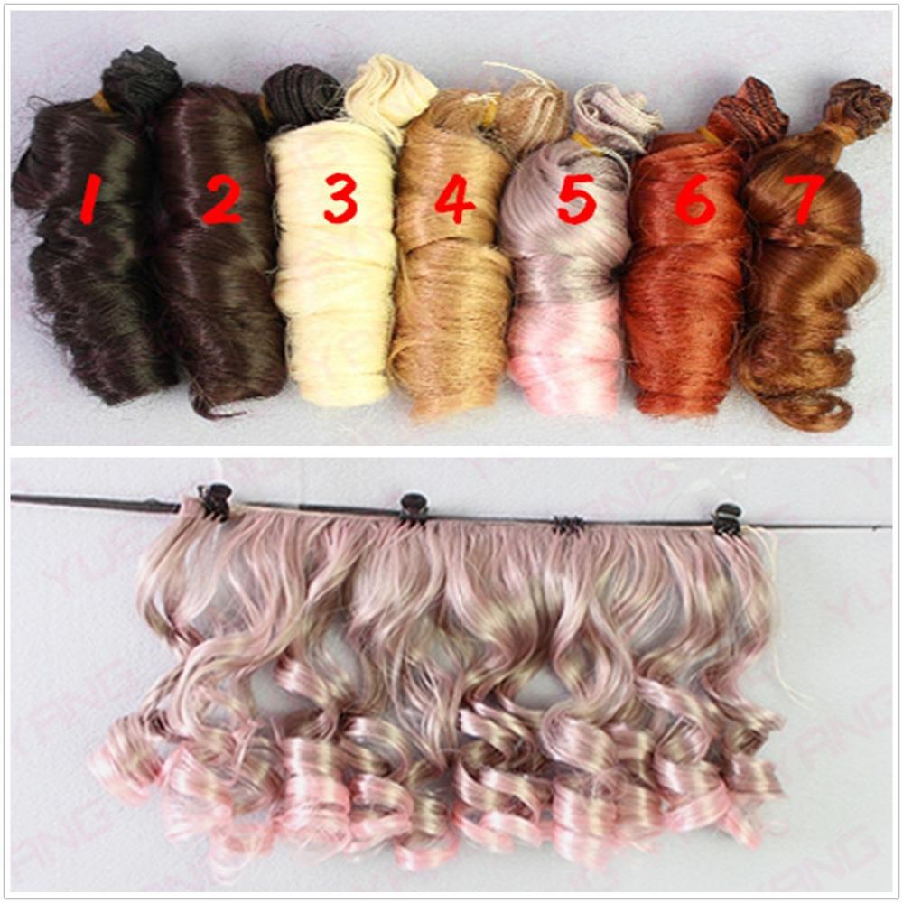 Updated 5Pcs/lot Fashion BJD SD DIY Wigs Hair High-temperature Wire Handmade Curly Doll Wigs Involtini Alla Romana Wig 15*100CM(China (Mainland))