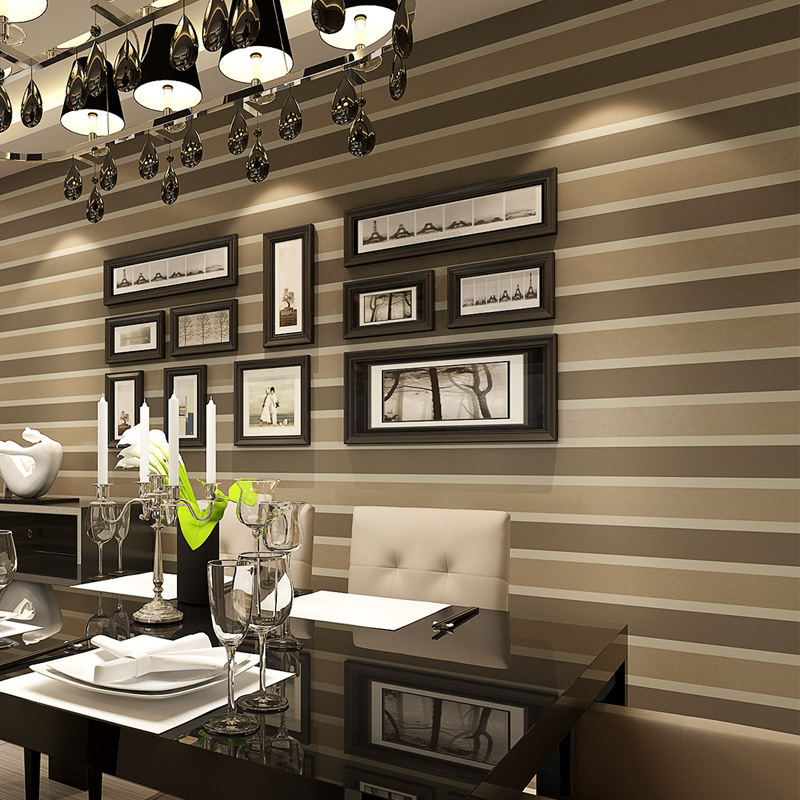 Italian style modern 3d embossed strip wallpaper for for Grey silver wallpaper living room