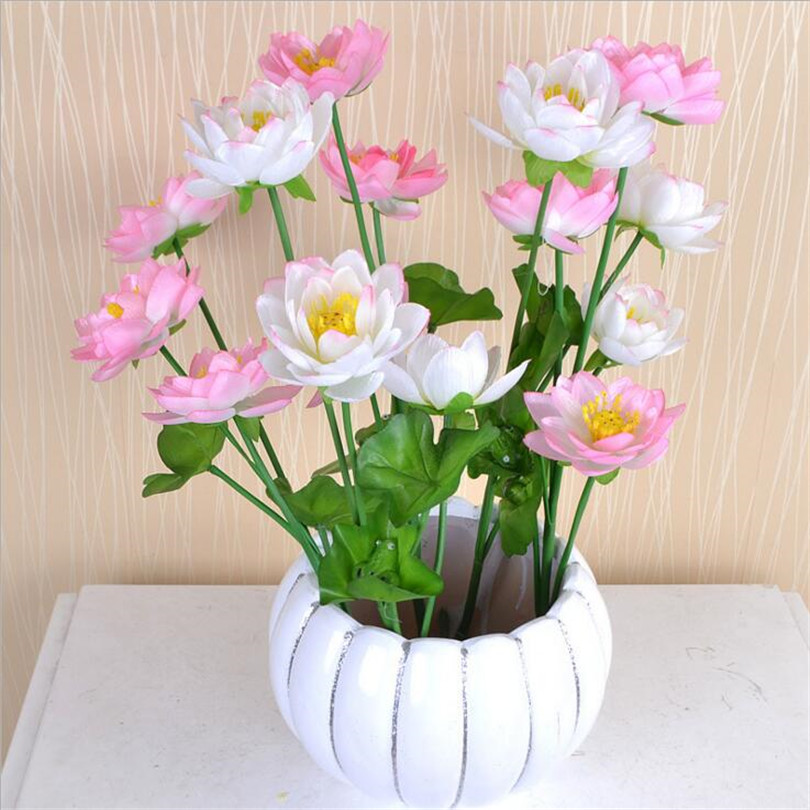 5pcs Artificial Lotus Flower 60cm Fake Lotus Simulation Water Lily 7 Colors for Wedding Home Christmas Decorations(China (Mainland))