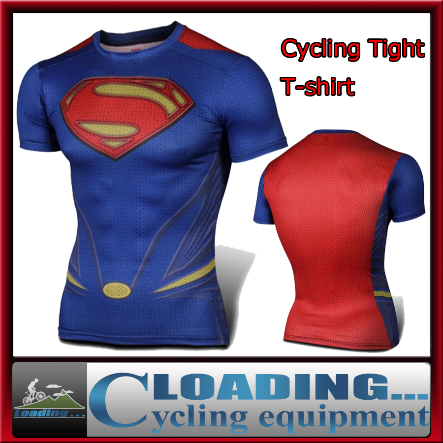 2015 New compressed superman t-shirt men sports t shirt quick dry fitness clothing gym running tights shirts - Loading... store