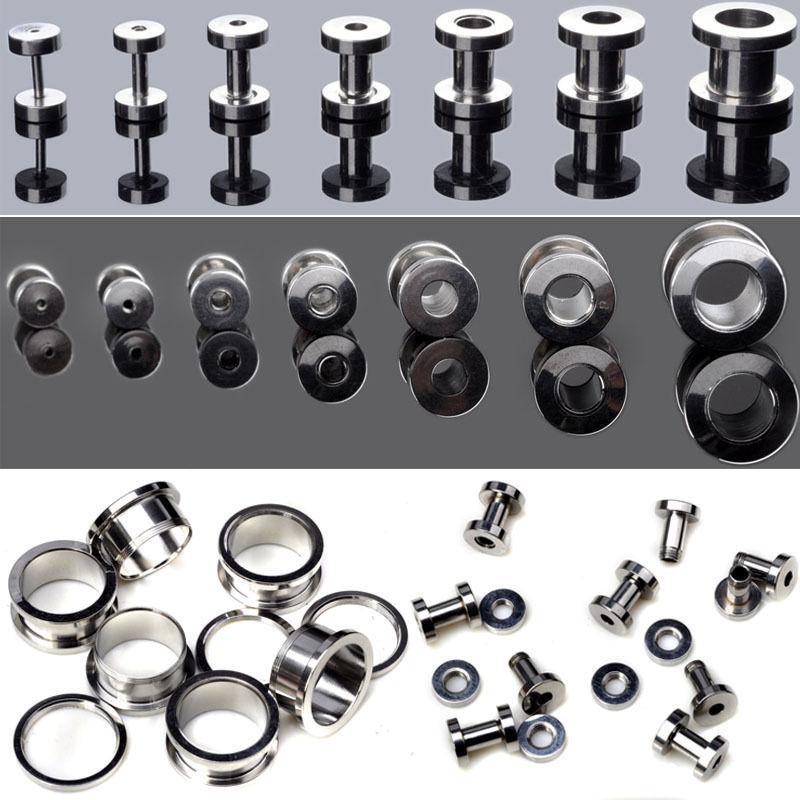 2pcs Stainless Steel Screw Ear Plug Tunnel Stretcher Flesh Gauge Ear Expander Punk Men Women Earrings Jewelry earring plugs(China (Mainland))