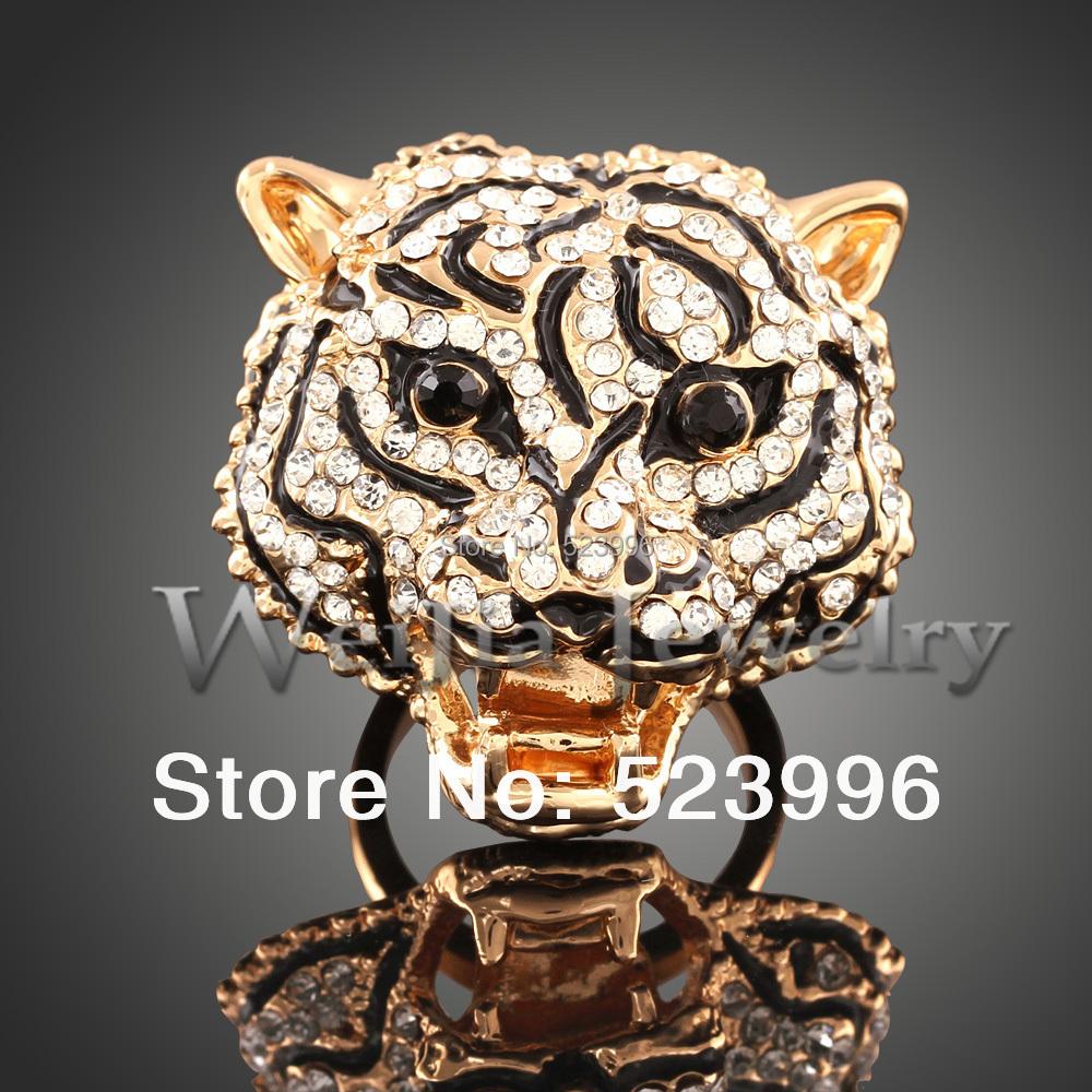 Primavera 2014 Nuevo 18 K Chapado En Oro Anillo de la Cabeza Del Tigre de la Personalidad Dominante de Cristal Tachonado Joyería Libre J01817(China (Mainland))