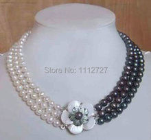 Charming! 2014 new 3row white & black pearl necklace shell flower clasp Beads Jewelry Natural Stone BV382 Wolesale Price(China (Mainland))