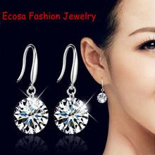 Austria CZ Diamond Elegant wedding Classic earrings. 925 silver Fashion zircon crystal Shining Drop Earrings For Women Jewelry(China (Mainland))