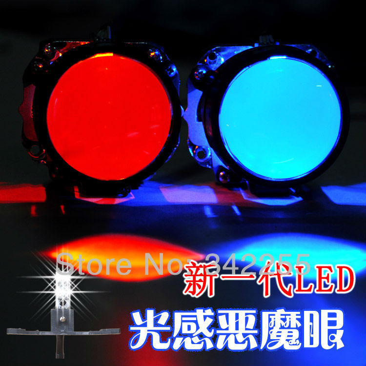 Hot Sale!!! LED Light Sensation Devil Eyes With 6 Color For Your Choice For Auto Parts HID Projector(China (Mainland))