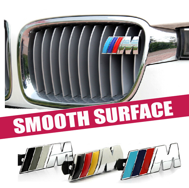 Excellent New 3D M Metal Front Grille Car Sticker Badge For BMW M3 M5 X1 X3 X5 X6 E36 E39 E46 E30 E60 E92 Car Emblem(China (Mainland))