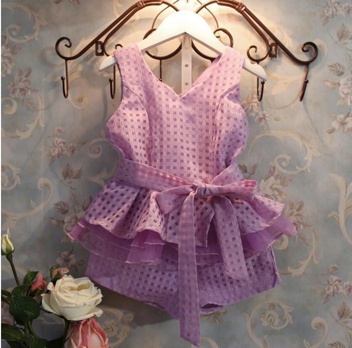 New 2015 summer girls clothing set 2 colors chiffon sleeveless shirt + plaid shorts suits for girls for baby clothes princesas(China (Mainland))