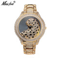 Miss Fox Hot Leopard Watch Fashion Female Golden Clock Charms Full Diamond Brand Gold Watch Women