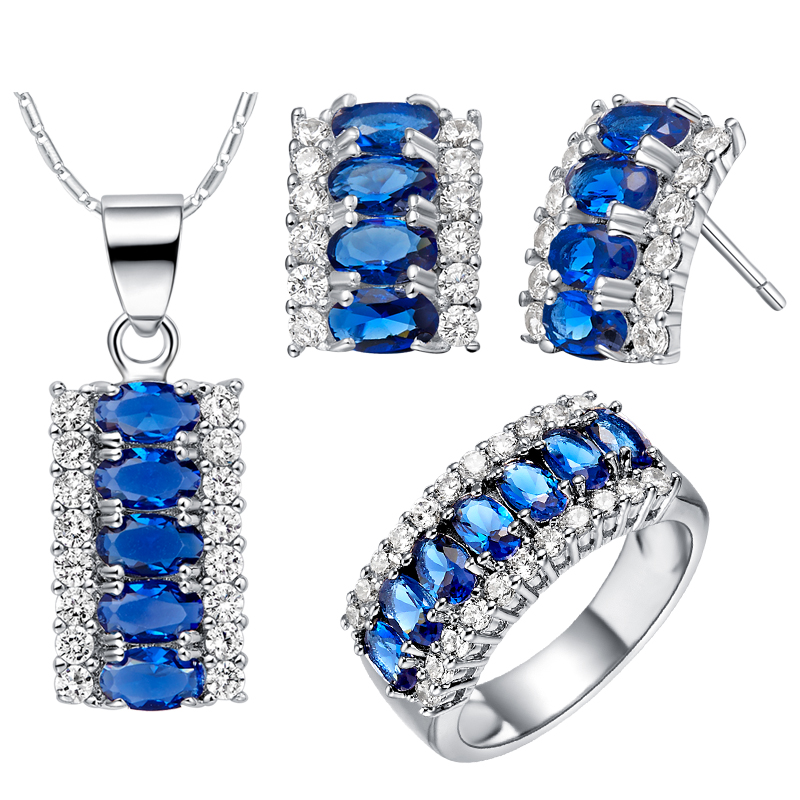 925 Silver Sets Women Bridal Jewelry Blue Stone Ring Necklace Earrings Fashion Crystal Arican Set Bijoux Gift Ulove T499