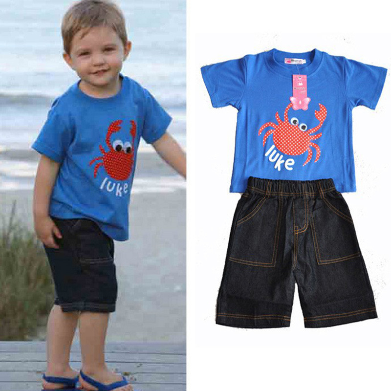 Baby boy set Wholesale summer style children clothing blue 100% cotton T shirt + denim pant designer cute vetement enfant fille(China (Mainland))