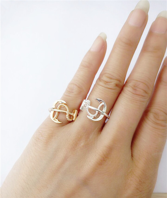1-2016 Gold Silver Unique Celebrity Style Nautical Sideways Anchor Rings Women Men Punk Jewelry Baptismal Gift - Show store