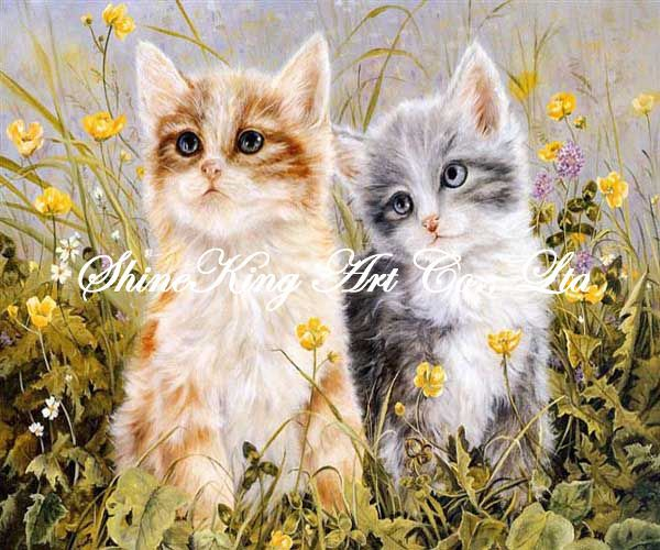 handmade animal oil painting on canvas classical cat painting Cat1033 50x60cm(China (Mainland))
