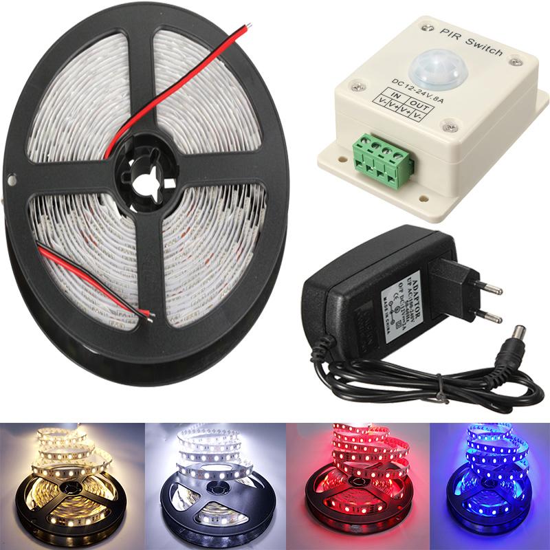 5050 LED Strip Waterproof IP20 5M With PIR Sensor 12V Porch security light automatic light switch motion sensor 24W Adaptor(China (Mainland))