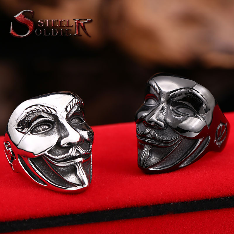 Steel soldier new design Guy Fawkes Mask film style ring stainless steel V for vendetta trendy men mask jewelry BR8-208(China (Mainland))