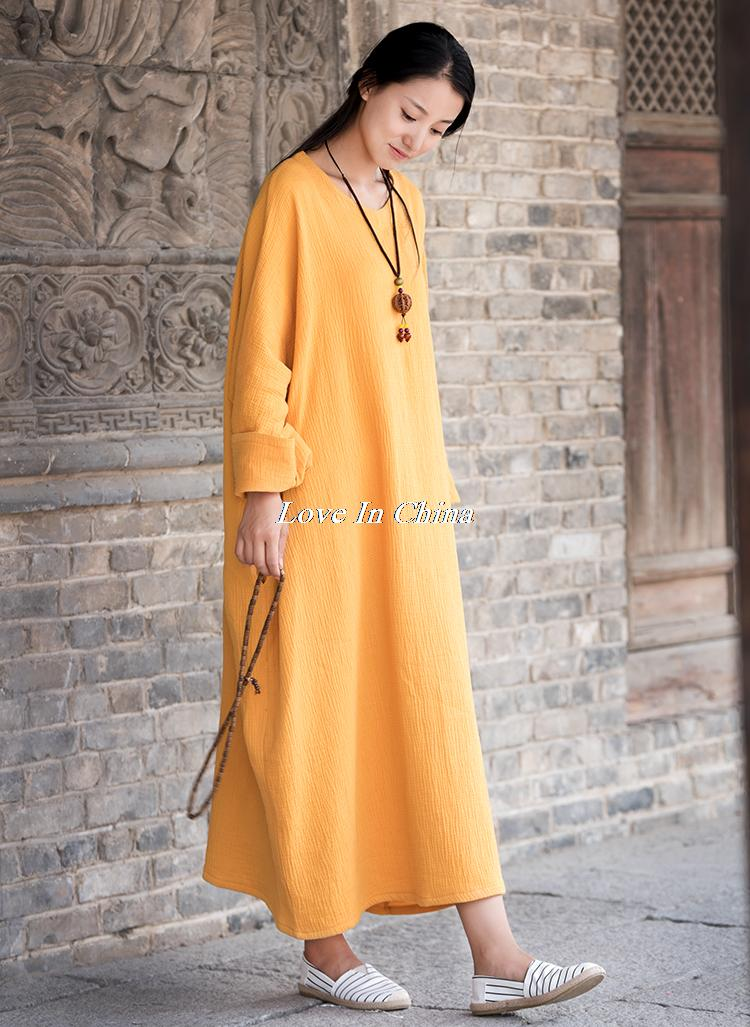 Women Spring New Cotton Linen Solid Loose Dress Robes Ladies Round Neck Plus Size Dress Gown Batwing Sleeve Maxi