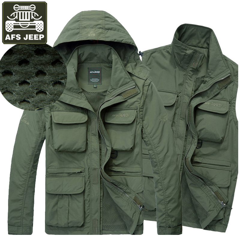 AFS JEEP Brand Clothing 2017 Mens Spring Jacket Army Casual Hooded Mesh Bomber Jacket Men Outerwear Windproof Multi-pockets Coat(China (Mainland))