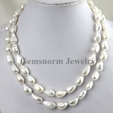 "Wholesale High Quality. Newest 9-10mm Natural Irregular Freshwater Pearls Neckalce 34"" Free Shipping(China (Mainland))"