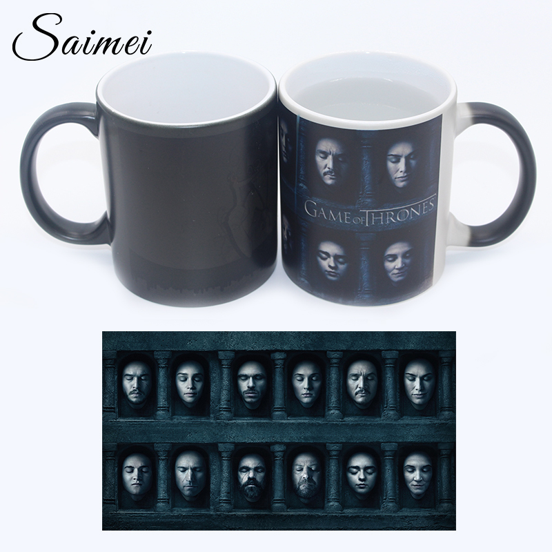 Saimei Brand Color Change Mug Heat Reveal Ceramic Mugs Temperature Sensing Coffee Mugs with Handle Customize Gift With Box(China (Mainland))
