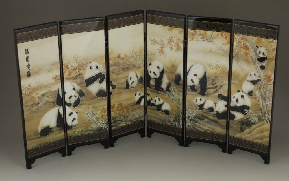 Wholesale cheap GOOD CHINESE LACQUER HANDWORK PAINTING PANDA SCREEN SCROLL/ Free Shipping(China (Mainland))