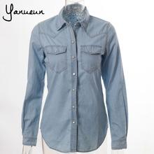 Free Shipping 2014 Women Blouse Spring Autumn Casual Shirts Long Sleeve Denim Cotton Jeans Shirt Casual Women Shirt B-2026(China (Mainland))