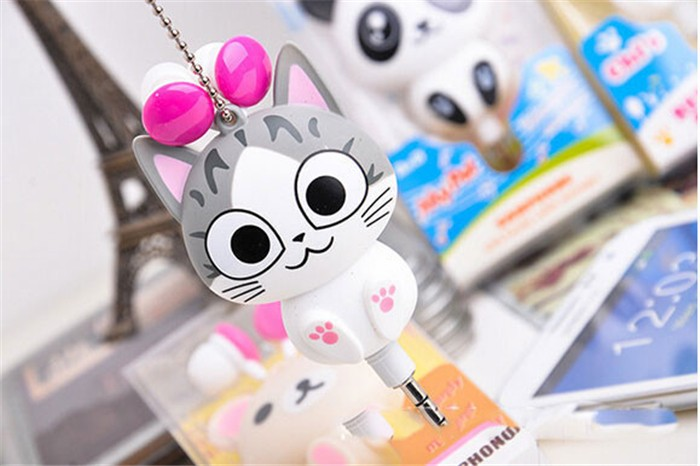 Cute Cheese Cat bear Cartoon Retractable Earphone for MP3 for Samsung HTC OPPO Xiaomi for IPhone 4 5s 6s Automatic(China (Mainland))