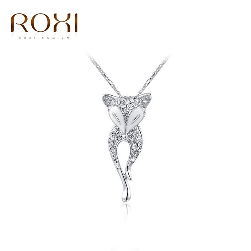 ROXI 18k Rose/White Gold Elegant Sexy Crystal Fox Animal Pendant Fine Jewelry Necklace Necklace Women Pendant Rope Chain(China (Mainland))