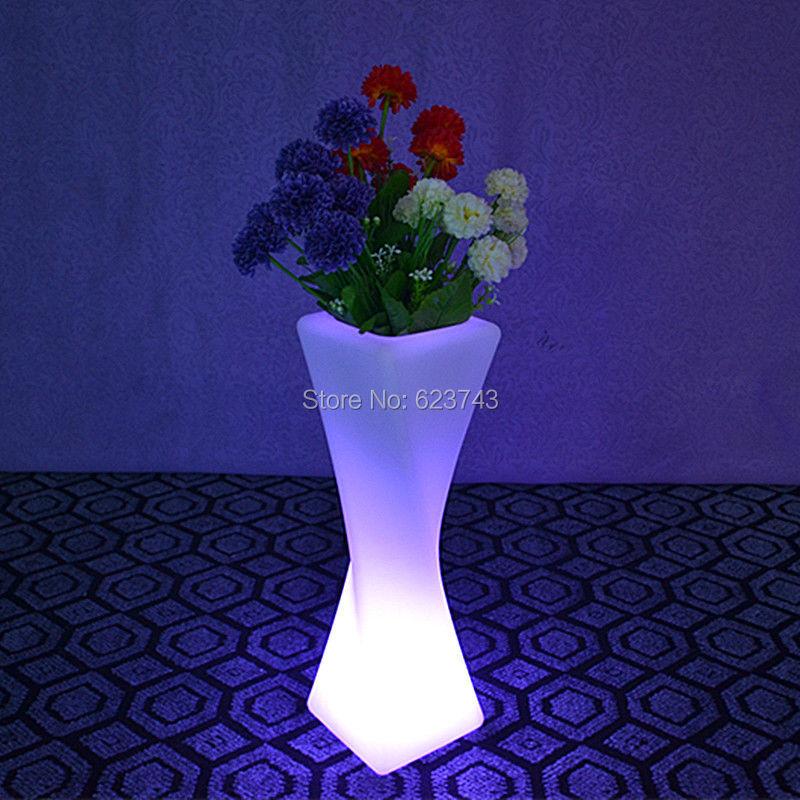 SLONG LIGHT Remote control Colorful Changeable Led Luminous flash flower pot of indoor illuminated Light planter pot(China (Mainland))