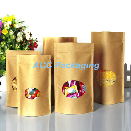 4.3''x6.3'' (11x16cm) Round Clear Window Zipper Home Food Party Bag Brown Kraft Paper Doypack Pouch For Coffee Tea Package Bag(China (Mainland))