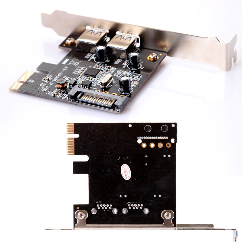 Low Profile 2 Port USB 3.0 PCI-E PCI Express Expansion Card with 15 pin SATA Power Connector Super Speed(China (Mainland))