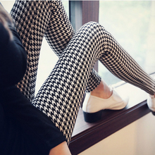 Free shipping! Fashion Women Houndstooth Swallow Gird  Print Leggings Lady Pants Wholesale(China (Mainland))