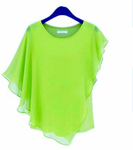 14 COLOR Plus size S-4XL 5XL Ladies Summer Chiffon Blouses & shirts blusas,Batwing sleeve ruffles women asymmetric casual shirts(China (Mainland))