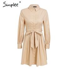 Simplee plissée taille haute femmes robe Vintage bureau dame blanc robes à manches longues coton 2018 automne hiver robe chemise(China)