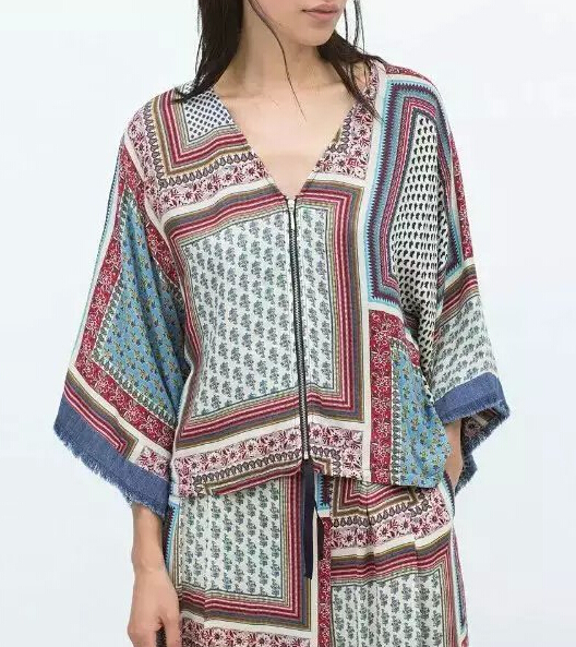 New 2015 Women Fashion Vintage Retro Floral Print Loose Zipper Kimono Jacket ZA Brand Outwear Coat Female Bawting Sleeve Tops(China (Mainland))