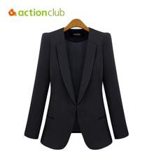 Jacket Women 2016 Jaqueta Feminina Solid Black Blue Formal Slim Plus Size 3XL Thin Suits Fashion Office Ladies Outerwear WC1415