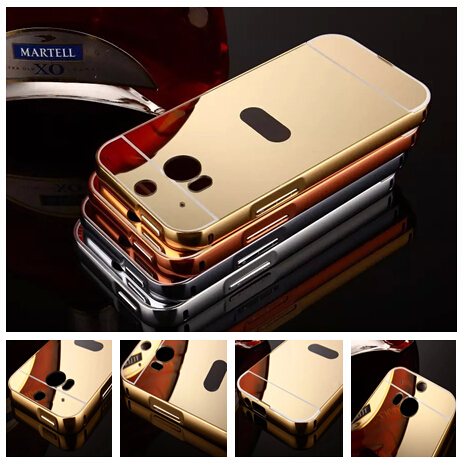 <font><b>Gold</b></font> plated Aluminum Metal Frame And Mirror PC Back Cover Case For <font><b>HTC</b></font> <font><b>ONE</b></font> M8 M 8 Cell Mobile Phone Bag Cases
