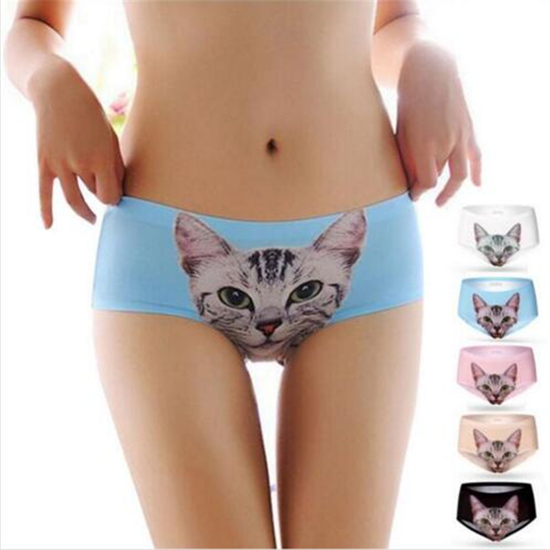 Fahion Underwear Women 3D Print Pussy cat Panties 100 cotton briefs ropa interior mujer Anti emptied
