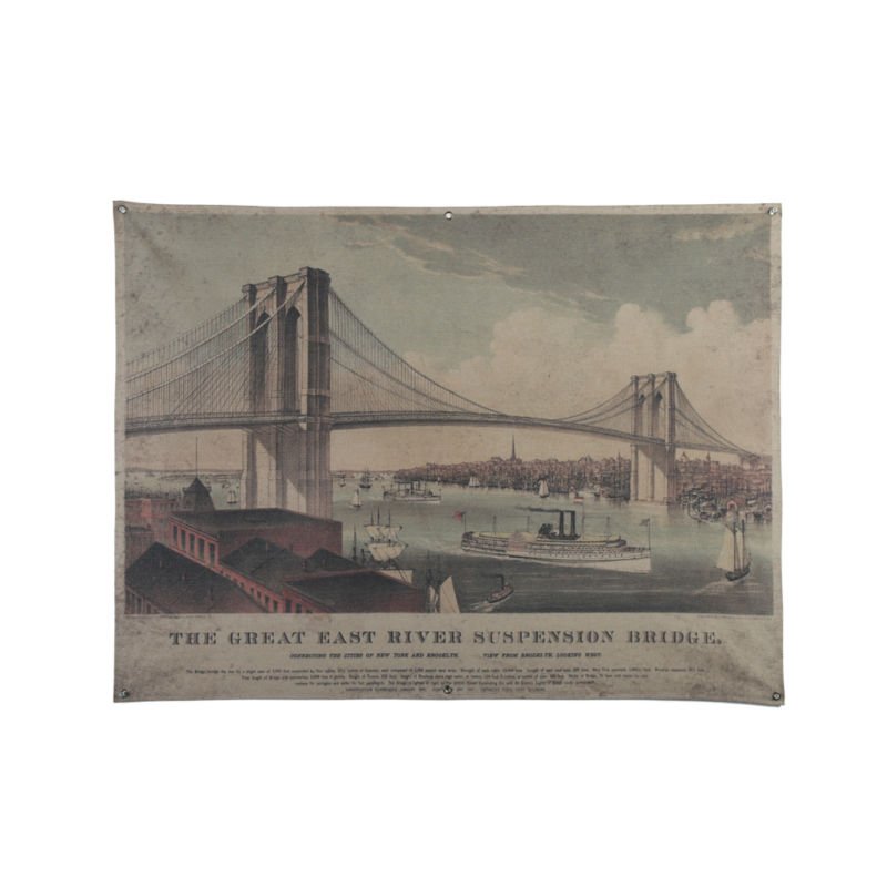 Vintage Art Canvas Painting, New York the Great East River Suspension Bridge Painting, Home Decor Paintings(China (Mainland))