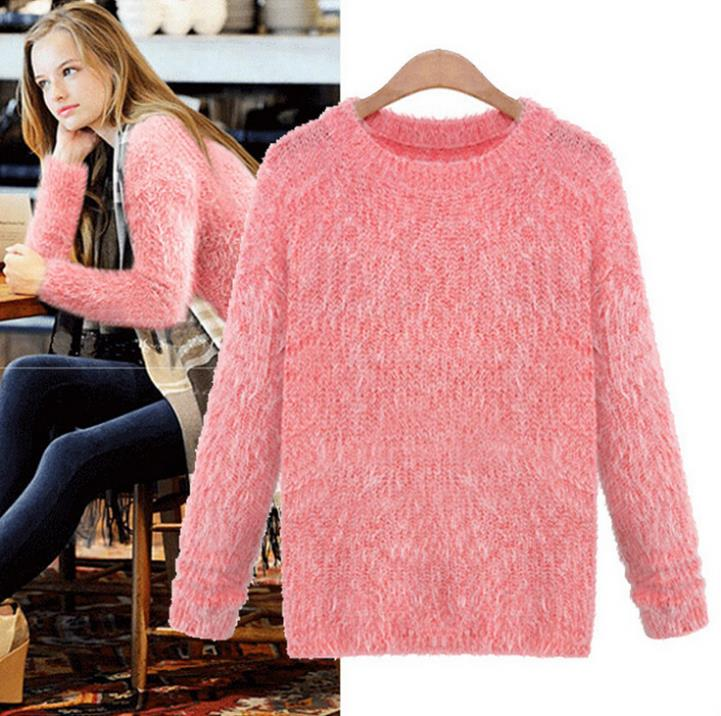 2015 New Knitted Sweaters Womens Warm Soft Cozy Elegant Striped Cute Pullovers Casual Wool Vestidos camisas femininas - Secrets of Women store