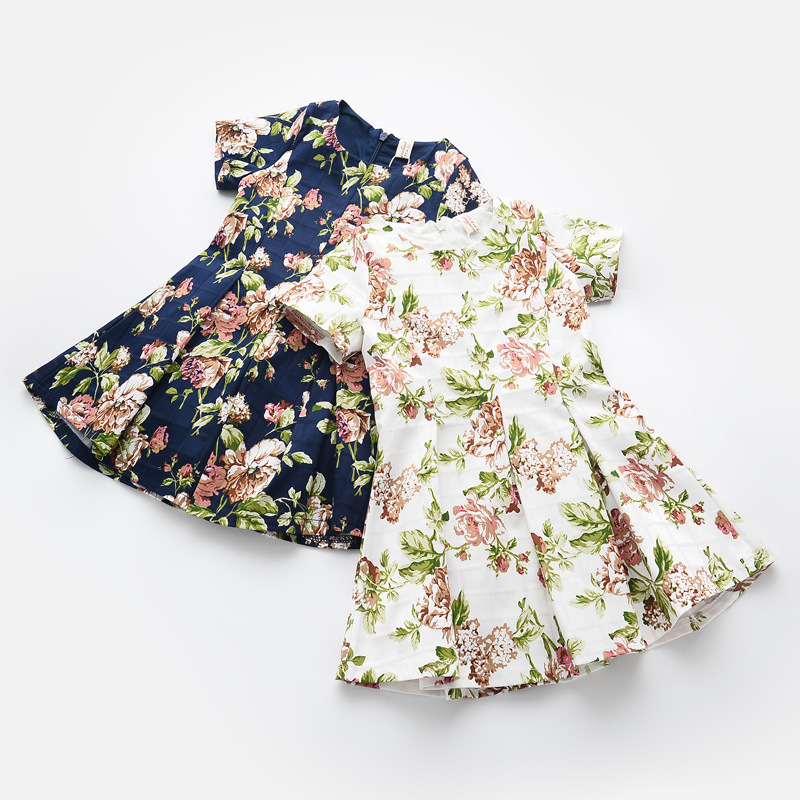 Summer 2016 New Retro Flower Print Girls Round Neck Short-sleeved Pleated Dress Children Clothing<br><br>Aliexpress