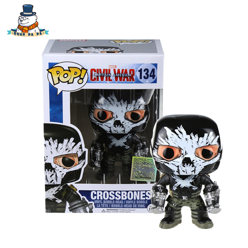 [QuanPaPa] New Genuine FunKo POP Captain America 3 Crossbones 134 Model Action Figurine doll car Decoration #7503(China (Mainland))