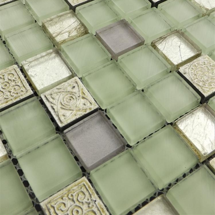11 square feet per lot,  light green   glass   mosaic tiles,shower mosaic tiles, express free shipping<br><br>Aliexpress