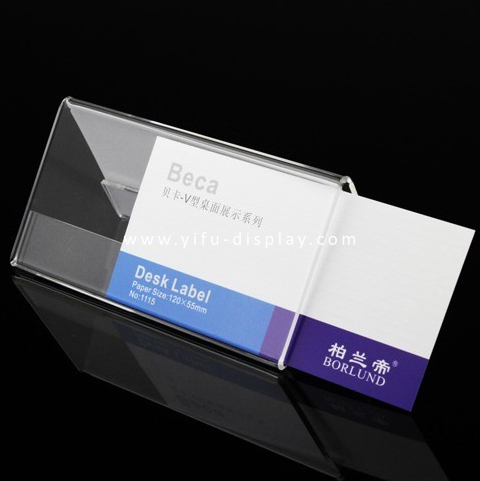 Free Shipping Acrylic Sign Holder Desk Label Name plates Holder Paper Card Table Holder Price Sign(China (Mainland))