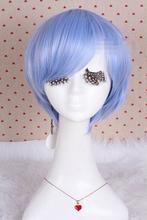 Hot heat resistant Kanekalon Party hair>>>EVA Evangelion Ayanami Rei Light Blue Short Straight Cosplay Full Wig