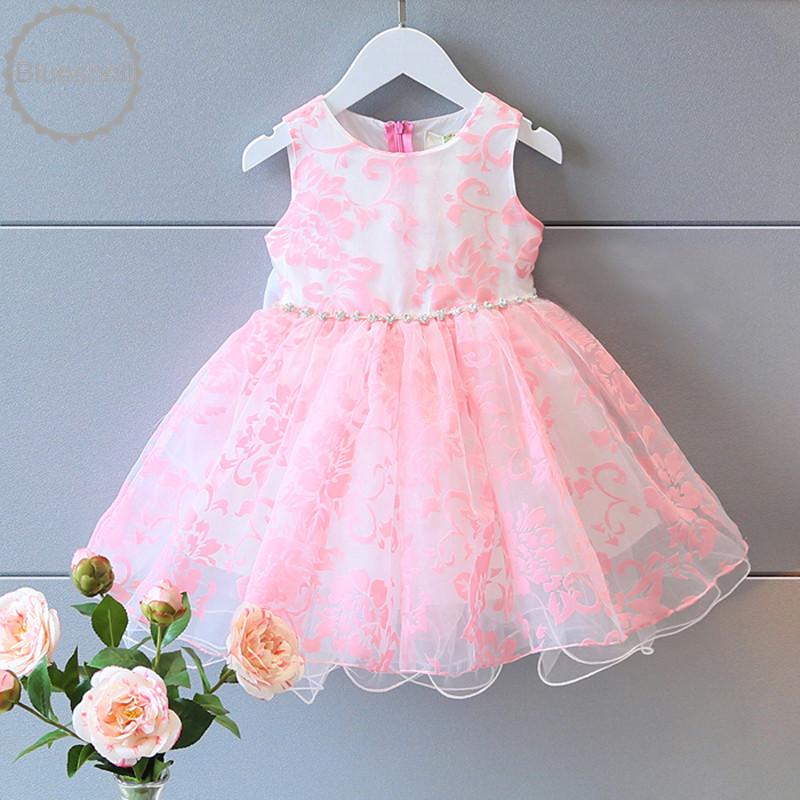 Sweet girls summer dress pink floral party sleeveless bow back dress baby kids girls princess tank dress girls clothing 3-7Ys(China (Mainland))