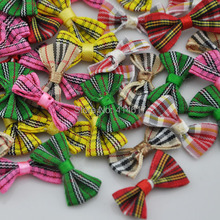 300pcs font b tartan b font plaid Gingham Ribbon Bows Flower Appliques Lots Upick A234